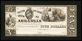 Obsoletes By State:Arkansas, Little Rock, AR- Bank of the State of Arkansas $5 G40 Rothert 400-1 Proof. ...