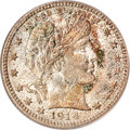 Barber Quarters, 1914 25C MS67 PCGS. CAC....