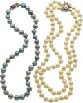 Estate Jewelry:Lots, Pair of White & Blue Cultured Pearl, Diamond, Ruby, White Gold Necklaces. ... (Total: 2 Items)