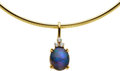 Estate Jewelry:Necklaces, Black Opal, Diamond, Gold Enhancer-Necklace. ... (Total: 2 Items)