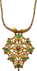 Estate Jewelry:Necklaces, Antique Multi-Gemstone, Silk, Kundan Pendant-Necklace. ...