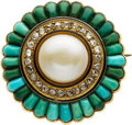 Estate Jewelry:Brooches - Pins, Antique Pearl, Diamond, Turquoise, Gold Brooch. ...