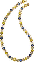 Estate Jewelry:Necklaces, Blue & Yellow Sapphire, Diamond, Gold Necklace. ...