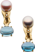 Estate Jewelry:Earrings, Pink & Gray Cultured Pearl, Blue Topaz, Diamond, Gold Earrings,Bvlgari. ... (Total: 2 Items)