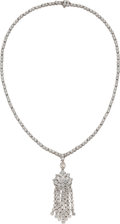 Estate Jewelry:Necklaces, Diamond, White Gold, Convertible Pendant-Necklace. ... (Total: 2 Items)