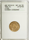1859 1C Judd-228--Cleaned, Lacquered--ANACS. UNC Details Net AU50. NGC Census: (0/0). PCGS Population (0/0). (#10362)...