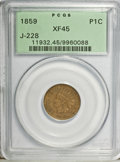 Patterns: , 1859 P1C Indian Cent, Judd-228, Pollock-272, R.1, XF45 PCGS. PCGS Population (1/261). NGC Census: (0/98). (#11932)...