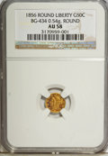 California Fractional Gold, 1856 50C Liberty Round 50 Cents, BG-434, Low R.4, AU58 NGC. 0.54gm. NGC Census: (4/11). PCGS Population (24/77). (#10470...