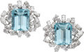 Estate Jewelry:Earrings, Aquamarine, Diamond, White Gold Earrings, Boucheron, French. ...(Total: 2 Items)
