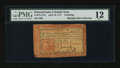 Colonial Notes:Pennsylvania, Pennsylvania April 10, 1777 4s Red and Black PMG Fine 12....