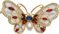 Estate Jewelry:Brooches - Pins, Multi-Stone, Diamond, Cultured Pearl, Enamel, Gold Brooch. ...