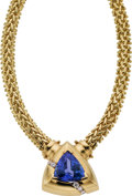 Estate Jewelry:Necklaces, Tanzanite, Diamond, Gold Necklace. ...