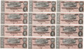 Military & Patriotic:Civil War, Confederate Currency: Twelve Consecutively Numbered Confederate $10 Bills....