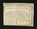 Colonial Notes:North Carolina, North Carolina May 10, 1780 $250 Very Fine-Extremely Fine....