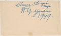 Autographs:Others, 1949 Casey Stengel Signed Government Postcard....