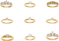Estate Jewelry:Lots, Lot of Diamond, Gold Rings. ... (Total: 9 Items)