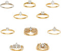 Estate Jewelry:Lots, Lot of Diamond, Gold Rings. ... (Total: 10 Items)