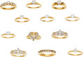 Estate Jewelry:Lots, Lot of Diamond, Gold Rings. ... (Total: 12 Items)