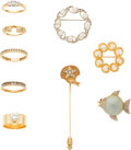 Estate Jewelry:Lots, Lot of Diamond, Multi-Stone, Gold Jewelry . ... (Total: 9 Items)