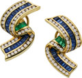 Estate Jewelry:Earrings, Sapphire, Diamond, Emerald, Gold Earrings, Charles Krypell. ...(Total: 2 Items)