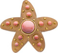 Estate Jewelry:Brooches - Pins, Coral, Gold, Wood Brooch, Seaman Schepps. ...