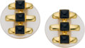 Estate Jewelry:Earrings, Black Onyx, Frosted Rock Crystal Quartz, Gold Earrings, Cipullo, Cartier, circa 1973. ... (Total: 2 Items)