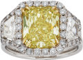Estate Jewelry:Rings, Fancy Intense Yellow Diamond, Diamond, Gold, Platinum Ring . ...