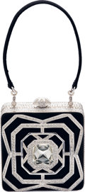 "Estate Jewelry:Purses, Austrian Crystal, Satin, White Metal, ""Asscher"" Evening Bag, JudithLeiber, circa 2007. ..."
