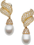 Estate Jewelry:Earrings, South Sea Cultured Pearl, Diamond, Gold Convertible Earrings,Flato. ... (Total: 2 Items)