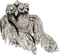 Estate Jewelry:Brooches - Pins, Art Deco Diamond, Enamel, White Gold Clip-Brooch. ...