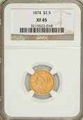 Liberty Quarter Eagles: , 1874 $2 1/2 XF45 NGC. NGC Census: (4/111). PCGS Population (11/58).Mintage: 3,940. Numismedia Wsl. Price for problem free ...