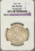 Bust Half Dollars: , 1834 50C Large Date, Large Letters--Obverse Scratched--NGC. UncDetails. NGC Census: (6/588). PCGS Population (12/254). Min...