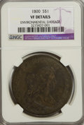 Early Dollars, 1800 $1 Wide Date, Low 8--Environmental Damage--NGC. VF Details....