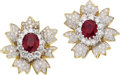 Estate Jewelry:Earrings, Ruby, Diamond, Platinum, Gold Earrings. ... (Total: 2 Items)
