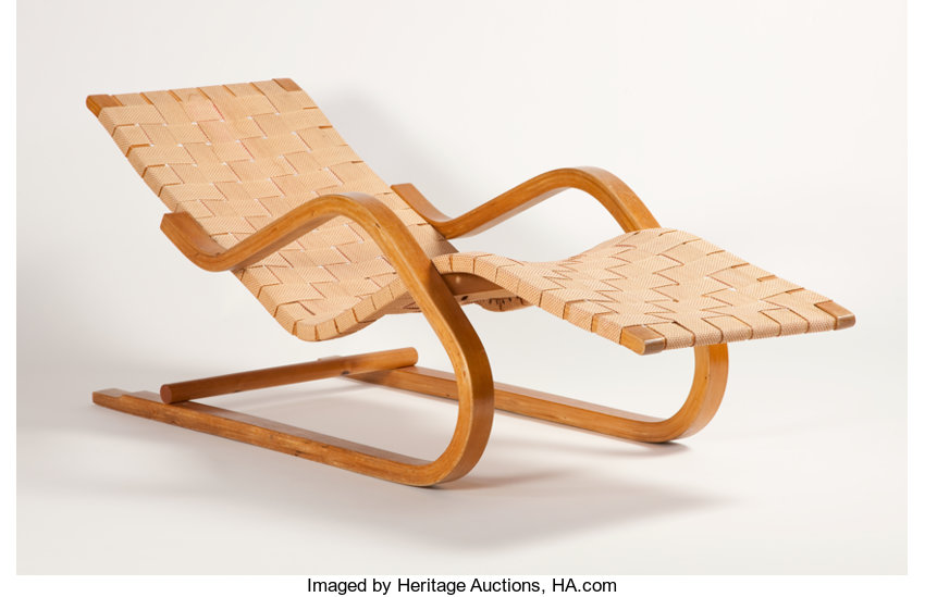 ALVAR AALTO FOR FINMAR A Bent Wood Chaise Longue With