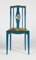Furniture , Attributed to ANDRE GROULT. A Blue and Burnt Orange Lacquered and Gilt Wood Side Chair, circa 1920. 39 x 17 x 20 inches (99....