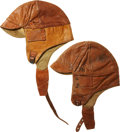 Military & Patriotic:WWI, Lot of Two Vintage Leather Flight Helmets.... (Total: 2 Items)