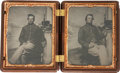 Military & Patriotic:Civil War, Stunning Pair of Civil War Quarter Plate Tintypes of Federal Infantrymen, Circa 1861....