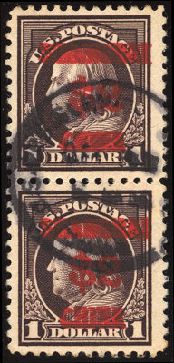 $2 on $1 Violet Brown, Double Overprint (K16a)