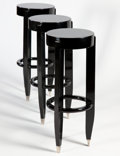 Furniture : French, Attributed to ALFRED PORTENEUVE. A Set of Three Black-Lacquered andNickel Tabourets, circa 1930. 33 x 14 inches (83.8 x 35.... (Total:3 Items)