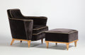 Furniture , PIERRE DARIEL FOR LA MAISON DOLT. A Beechwood and Brass Armchair with Footstool, circa 1935-1940. 30 x 33 x 33 inches (76.2 ... (Total: 2 Items)