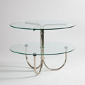 Furniture : French, ANDRE LURCAT FOR THONET. A Nickel Plated Metal and Glass Table,model no. B330, circa 1930. Marks: bearing decal. 24 x 31 in...