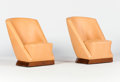 Furniture : French, LOUIS SOGNOT FOR ATELIER PRIMAVERA. A Pair of Hide-UpholsteredMahogany Easy Chairs, circa 1930. 35 x 23 x 27 inches (88.9 x...(Total: 2 Items)