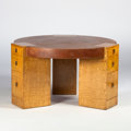 Furniture : American, JOHANN TAPP, CHICAGO. A Tamo and Japanese Ash and Silvered BronzeLibrary Table/Desk, circa 1930. 28-1/2 x 49 inches (72.4 x...