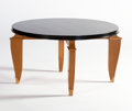 Furniture : French, LEON JALLOT. A Black-Lacquered and Oak Gueridon, circa 1930-1935.19 x 33-1/2 inches (48.3 x 85.1 cm). ...