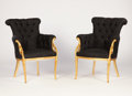 Furniture , In the style of PAUL IRIBE. A Pair of Silk-Upholstered Gilt Wood Armchairs, circa 1920. 39 x 30 x 30 inches (99.1 x 76.2 x 7... (Total: 2 Items)
