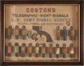 Military & Patriotic:Civil War, Absolutely Remarkable, Probably Factory, 1864 Display Board with Sixteen Coston's Flares for Use with the U.S. M1862 Army Sign...
