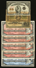 Canadian Currency: , Canadian Shinplasters and Modified Portrait 1954 Notes.. ... (Total: 8 notes)