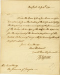 "Autographs:U.S. Presidents, Thomas Jefferson Manuscript Letter Signed ""Th: Jefferson"" asSecretary of State, one page, 7.5"" x 9.5"", New York, July 1..."