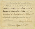 "Autographs:U.S. Presidents, Andrew Johnson Partly-Printed Document Signed ""Andrew Johnson"". One page, 7.5"" x 6.25"", Washington, August 14th, 1868 in..."